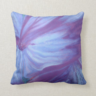 Romantic blue florals throw pillow