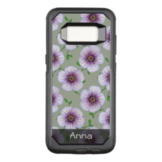 Romantic Blue Garden Flowers Pattern any Text OtterBox Commuter Samsung Galaxy S8 Case