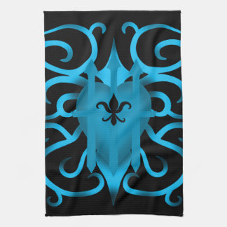 Romantic Blue heart and swirls Hand Towels