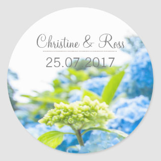 Romantic Blue Heaven, hydrangea wedding sticker