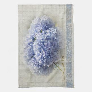 Romantic Blue Hydrangeas Tea Towel