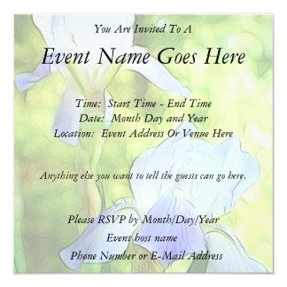 Romantic Blue Irises Personalized Invites