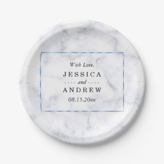 Romantic Blue Marble Wedding Paper Plate