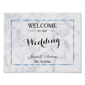 Romantic Blue Marble Wedding Poster