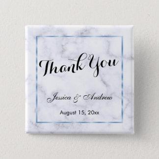 Romantic Blue Marble Wedding Thank You 15 Cm Square Badge