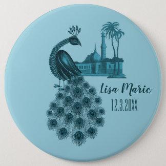 Romantic Blue Peacock 6 Cm Round Badge