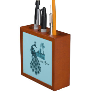 Romantic Blue Peacock Desk Organiser
