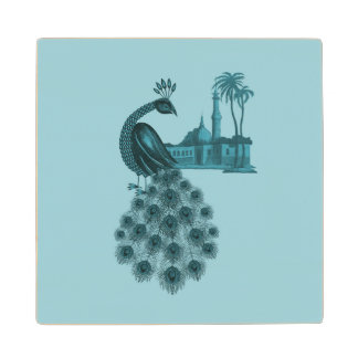 Romantic Blue Peacock Wood Coaster