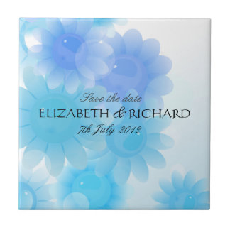 Romantic blue Save the date Tile
