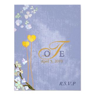 Romantic Blue Wedding Monograms RSVP (4.25x5.5) 11 Cm X 14 Cm Invitation Card