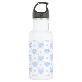 Romantic Blue & White Hearts 532 Ml Water Bottle