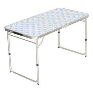 Romantic Blue & White Hearts Beer Pong Table