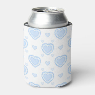 Romantic Blue & White Hearts Can Cooler