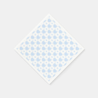 Romantic Blue & White Hearts Disposable Serviette