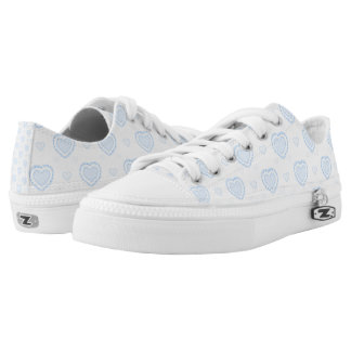 Romantic Blue & White Hearts Low Tops