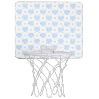 Romantic Blue & White Hearts Mini Basketball Hoop