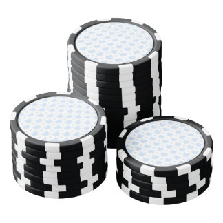 Romantic Blue & White Hearts Poker Chips