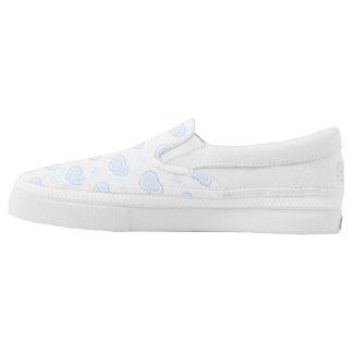 Romantic Blue & White Hearts Slip-On Shoes