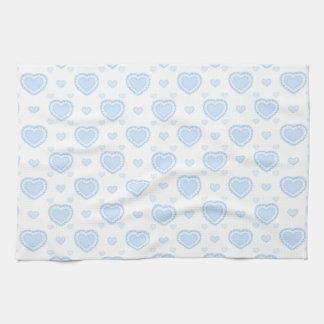 Romantic Blue & White Hearts Tea Towel