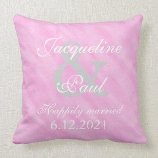 Romantic Blush Pink Bride Groom Reversible Pillow