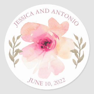 Romantic Blush Pink Peony Flower Wedding Classic Round Sticker