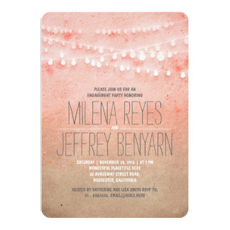 Romantic Blush Pink String Lights Engagement Party Card