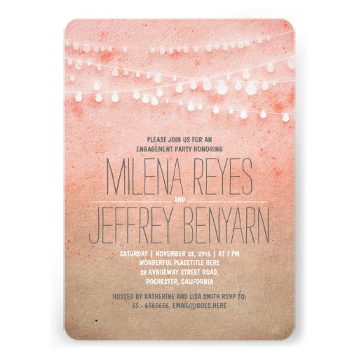 Romantic Blush Pink String Lights Engagement Party Personalized Invites