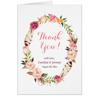 Romantic Boho Feather Floral Wreath Thank You Card