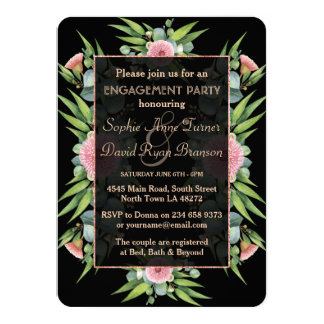 Romantic Boho Floral Eucalyptus Engagement Party Card
