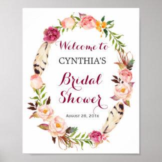 Romantic Boho Floral Wreath Bridal Shower Sign