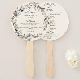 Romantic Botanical Floral Wreath Wedding Program Hand Fan