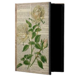 romantic botanical flower art girly white rose case for iPad air