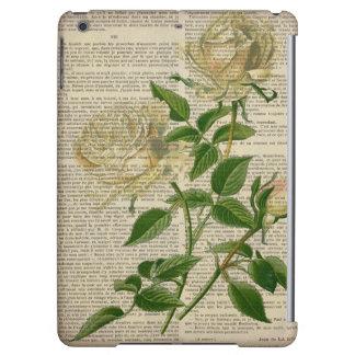 romantic botanical flower art girly white rose iPad air cover