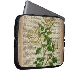 romantic botanical flower art girly white rose laptop sleeves