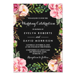 Romantic Botanical Pink Floral Wreath Wedding Card