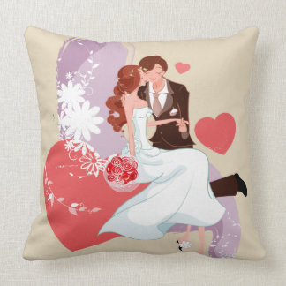 Romantic Bride and Groom, Red Hearts, Love, Pillow