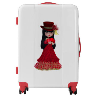 Romantic Brunette Girl Medium Luggage Suitcase