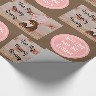 Romantic Bunny w/Personalization Wrapping Paper