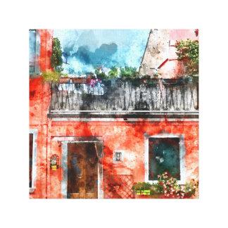 Romantic Burano Italy near Venice Italy Canvas Print