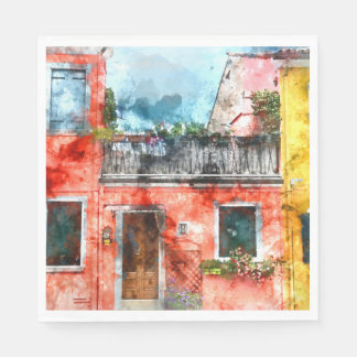 Romantic Burano Italy near Venice Italy Disposable Napkins