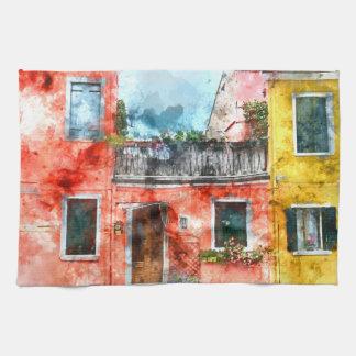 Romantic Burano Italy near Venice Italy Kitchen Towels