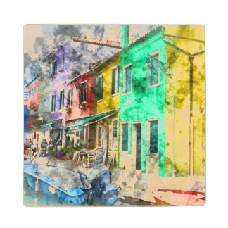 Romantic Burano Italy near Venice Italy Wood Coaster