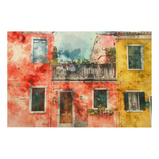 Romantic Burano Italy near Venice Italy Wood Wall Decor