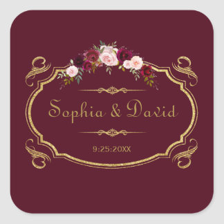 Romantic Burgundy Marsala Floral Fall Wedding Square Sticker