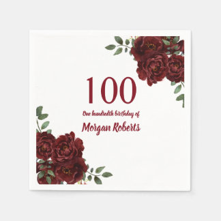 Romantic Burgundy Red Rose 100th Birthday Party Disposable Napkin