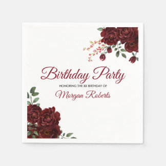 Romantic Burgundy Red Rose Birthday Party Disposable Napkin