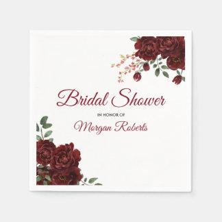 Romantic Burgundy Red Rose Floral Bridal Shower Disposable Serviettes