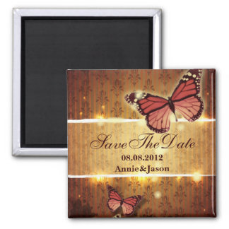 romantic butterfly fall wedding save the date magnet
