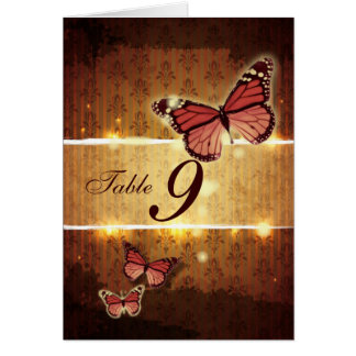 romantic butterfly fall wedding table number