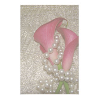 Romantic Calla Lilies & Pearls Stationery